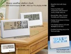 A104 - Sharp Weather Station Clock With Back Light