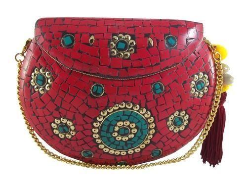 68691df49a Red NK Mosaic Metal Clutch Purse Evening Bag, Rs 350 /bag | ID ...