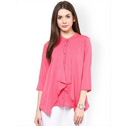 Ladies Cotton Round Neck Half Sleeves Pink Top, Size: S, M & L