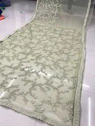4 Color Sitaram Fashion Embroidery Net Saree, 5.5 m (separate blouse piece), With Blouse Piece