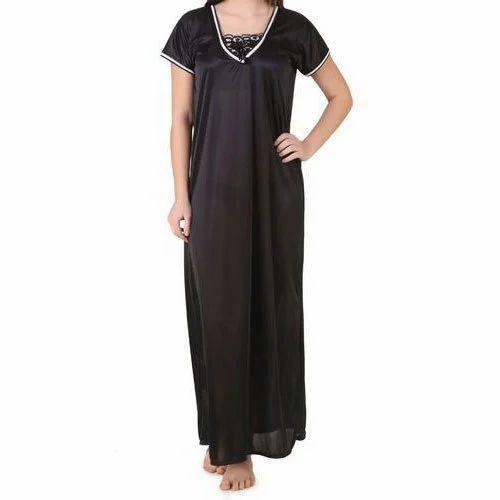 95e4e60a6c Ladies Black Satin Nightgown
