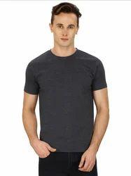 Half Sleeve Pintapple Solid Mens Round Neck Grey T-Shirt