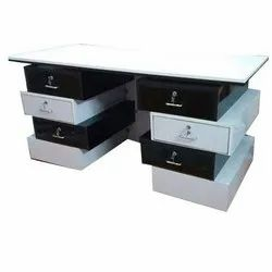 White And Brown Wooden Rectangular Office Drawer Table, Storage/Drawers: Yes