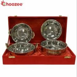 Choozee - Copper Stainless Steel Handi and Kadhai Set of 4 Pcs