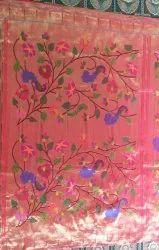 Mor Flowers Wedding Wear Flower Brocket Paithani Saree, 6.3 M (With Blouse Piece)