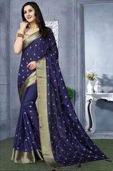 Navy Blue Heavy Resham Embroidered Saree