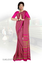 Georgette Pink Uniform Saree