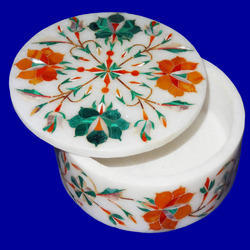 Marble Round  Jewelry Box  Floral Inlay