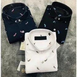 Collar Neck Mens Casual Printed Designer Cotton Shirts, Size: M