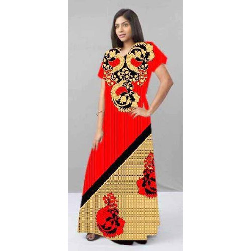 Large Stitched Printed Half Sleeves Ladies Cotton Gown