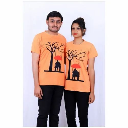 b1230be9 Cotton Casual Wear Printed Couple T-Shirt, Rs 400 /set | ID: 20697150091