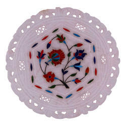 White Marble Jali Plate with Inlay Work