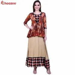 Young Ma'am Paplum Long Dress (Multi Color)