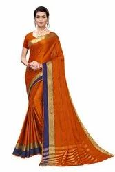 Cotton Silk Party Wear Orange Saree With Blouse Piece