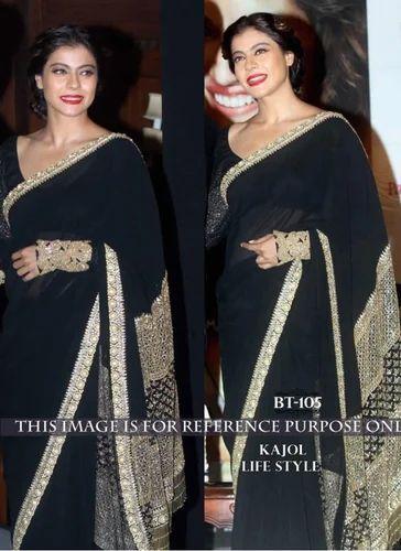 Georgette With Sequence Work Black Sari Designer Party Wear Women Fancy Saree