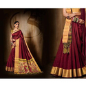 Maroon Ladies Designer Saree, 6.3 M With Blouse Piece