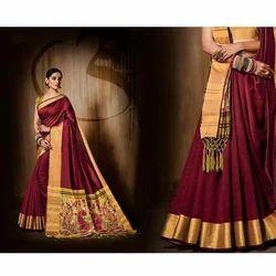 Maroon Ladies Designer Saree, 6.3 M With Blouse Piece