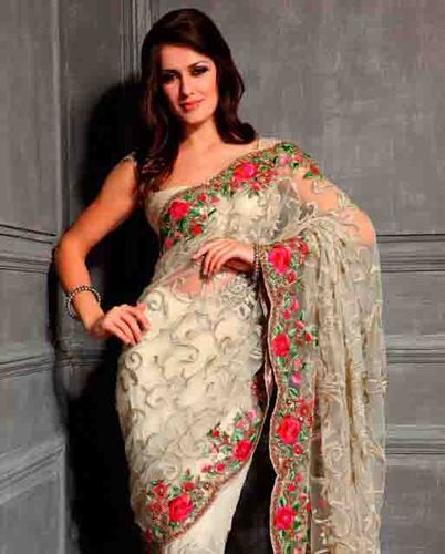 a303f83d2f016 Net Embroidered Party Wear Saree