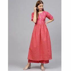 Redish Pink Anarkali Suit