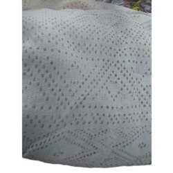 Plain White Embroidered Net Fabric, GSM: 150-200