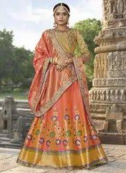 80709b9894 Peach Maisha Designer Banarasi Jacquard Women's Lehenga Choli