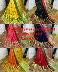 Party Wear Embroidered South Silk Saree 6.3 m (With Blouse Piece)