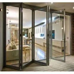 Silver Aluminium Folding Sliding Door, 5 Mm
