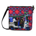 Blue Silver Taxi Canvas and Faux Leather Sling Bag