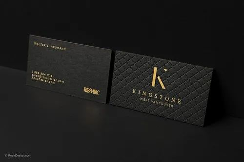 Visiting Cards With Spot UV & Silver Or Gold Foil - Single Side