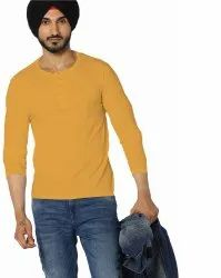 VEIRDO 100 Percent Cotton Yellow Solids T-Shirt, Age Group: Adult