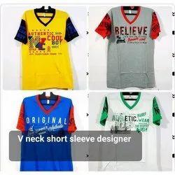 V Neck Short Sleeves Designer T Shirt