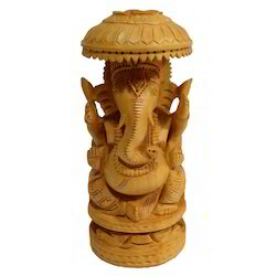 Natural Wooden Chatari Ganesha Statue