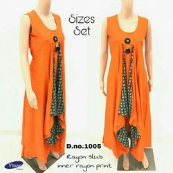 Rayon Full Length Round Neck Orange Kurti