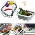 Collapsible Fold Cutting Board with Dish Tub Space Save Folding Washing Bowl Draining Basket