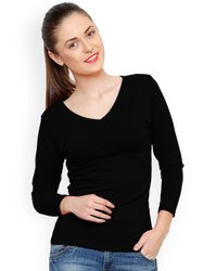 Ladies Black Full Sleeves T-Shirt