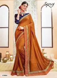 Festive Wear Silk Embroidery Border Saree