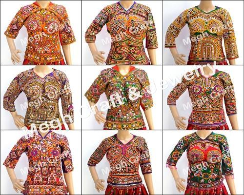 Multicolor Designer Kutch Hand Embroidery Mirror Work Blouse Top Rs