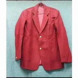 Cotton Plain Red School Blazer