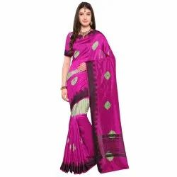 Pink Colored Terylene Party Wear Saree