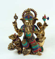 Multi Color Ganpati Idol Sitting On Elephant