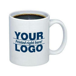 Ceramic White Printed Coffee Mug, Shape: Round