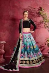 Designer Heavy Embroidery and Floral Print Work Banglory Silk Lehenga