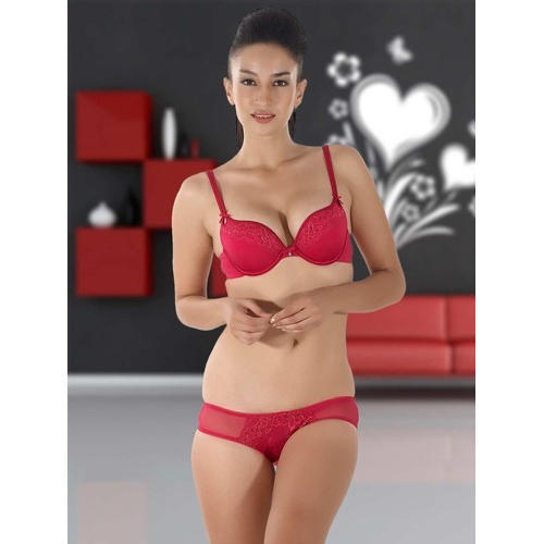 be3f456b6c1 Manshi And Dixcy Cotton And Nylon Ladies Red Bra Panty Sets