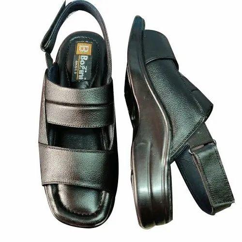 f6fbd5f580f9f Regular Black Mens Comfortable Leather Sandal, Size: 6-10, Rs 450 ...