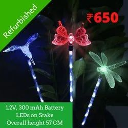 Refurbished 6 LED Hummingbird, Butterfly, Dragonfly Stake Solar Lights