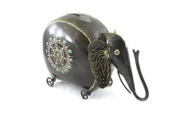 Elephant Shape Coin Box With Key Indian Home Decor
