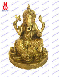 Lord Ganesh Sitting Rd. Lotus Base Statue