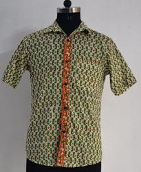 Mens Hand Block Print Cotton Half Sleeve Shirt