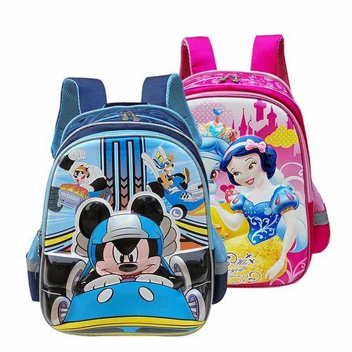 c0f97f81db10 Blue And Pink Kids Cartoon School Backpack