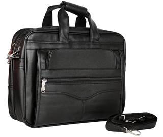 c2169c1fda30 Premium Faux Leather Black Office Laptop Bag